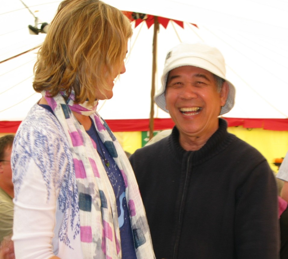A moment of joy with a new friend in the big tent in Taize; my 2011 pilgrimage there marked the beginning of a very fruitful season