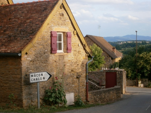 Taize village with sign