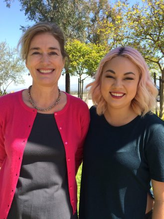 With Amanda Ozaki-Laughon shooting a promo at CUI for EYES TO SEE: Daring to care about human trafficking in SoCal