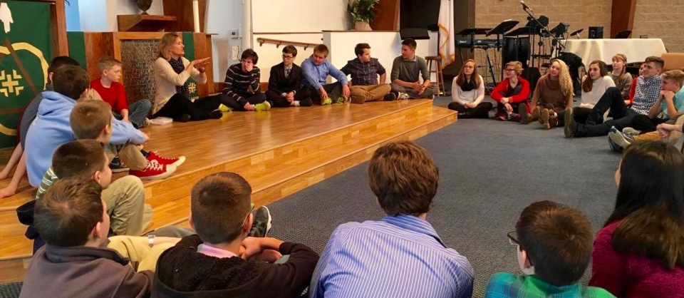 """Talking with middle school students throughout Indianapolis about prayer, silence, and listening to the voice of the One who made you, bringing themes from my book """"happy are those"""" to life. This shot was taken at St. John's Lutheran, Indy, where they are raising up a curious crop of passionate young writers."""