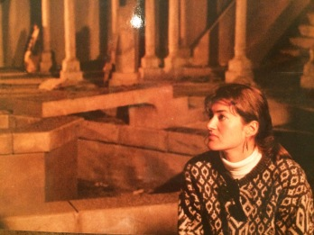 On the set of Pinewood Studios in London, pregnant with my son