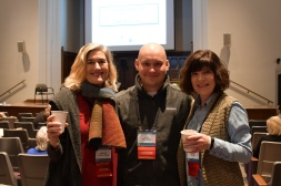 HCD, Jake, Erika, toasting over coffee on the final morning before the screening of First Reformed, moderated by Travis Scholl and Tim Saleska.